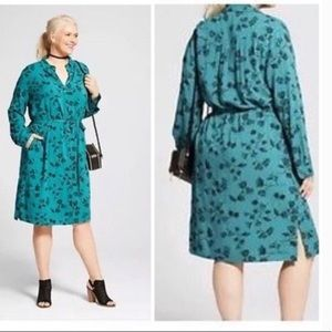 Ava & Viv green black floral belted shirt dress 1X